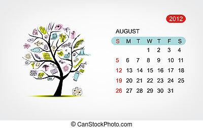 Vector calendar 2012, august. Art tree design