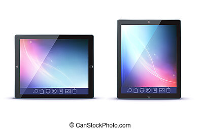 tablet PC - illustration of classy tablet PC in horizontal...