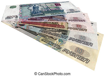 russian money (rubles) isolated on white background