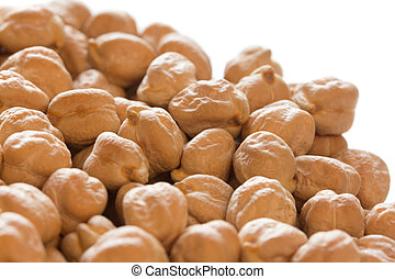 Chickpeas close-up in white background