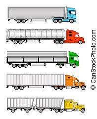 Semi trucks - An illustration of five different type of...
