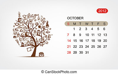 Vector calendar 2012, october Art tree design