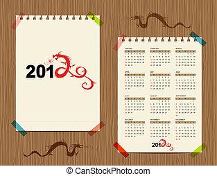 Vector calendar 2012, dragon symbol for your design