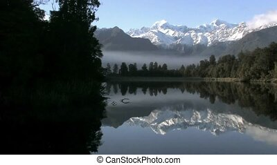 Lake Matheson - Pan Left - Lake Matheson West Coast, New...