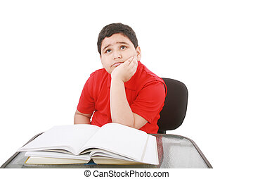 Portrait of a stressed young student with a of books to...