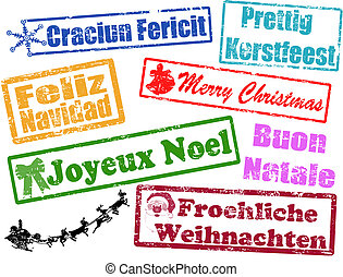 Merry Christmas stamps in different languages, vector...