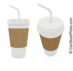 Paper cup - 3d render of paper cup with white tibe isolated...