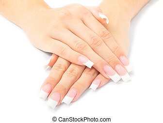 Woman hands with french manicure - Beautiful woman hands...