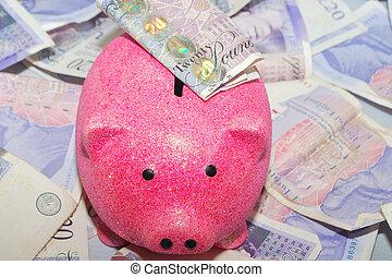 piggy bank over money