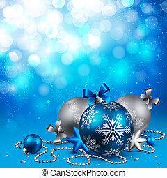 Christmas background with baubles on blue. Vector...