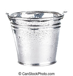 metálico, balde, isolado, branca
