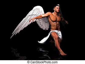 serve - a male angel in his unique pose