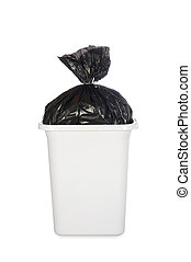Bag of garbage in trash can - A white trash can with a black...