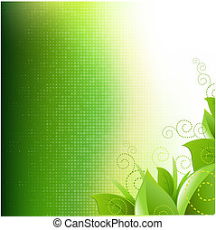 Green Background With Leafs And Grass, Vector Illustration