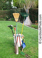 Gardening tools on grass - Yard working and gardening tools...