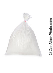 White garbage bag - A filled white trash bag isolated on...