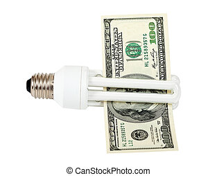 Energy saving light bulb on white background
