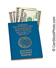 Kyrgyz passport and money, isolated on white background
