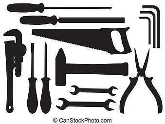 Vector Hand Tools Kit - Vector Black Silhouettes of Hand...