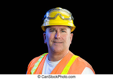 Construction worker - A construction utility worker wearing...