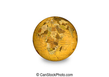 World globe - An isolated world globe shows Africa as its...