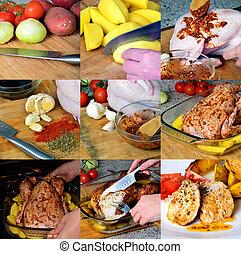 preparação, ASSADO, galinha, batatas, colagem,...