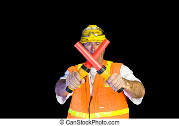 Construction worker with communication flashlights