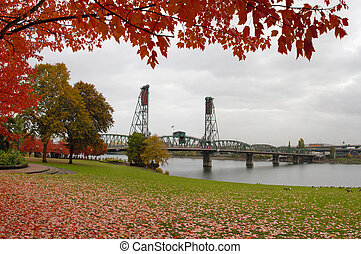 Fall Colors at Portland Oregon Downtown Waterfront by...