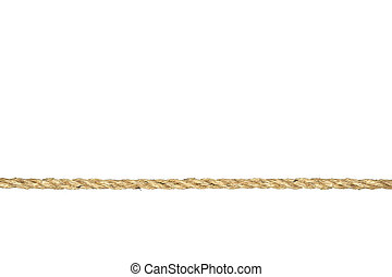 Twisted manila rope isolated on white - A straight line of...