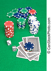 Poker game setting - A setting of a poker game shows cards...