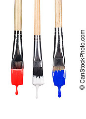 Dripping paint brushes - A set of dripping paint brushes...