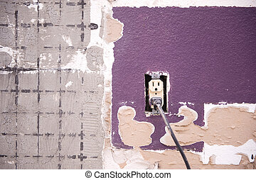 Interior wall and outlet