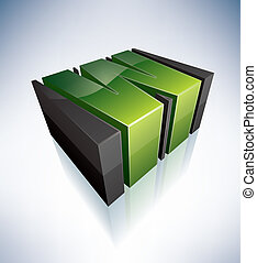 Three-dimensional W Letter - 3D W green logo letter (part of...