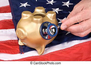 Dead piggy bank in tough economic times