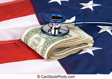 American flag with pile of cash and stethoscope