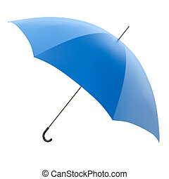 Blue umbrella isolated on white background. 3D render.