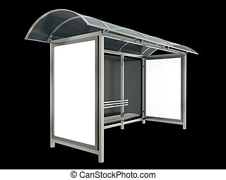 Bus stop on black background 3D render
