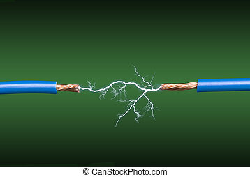 Electrical arc - An electrical arc crossing two blue, copper...