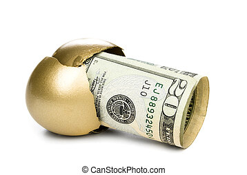 Hatched golden egg with cash - A hatched golden egg reveals...