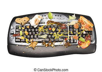 Dirty keyboard - A keyboard covered with food remnants. We...