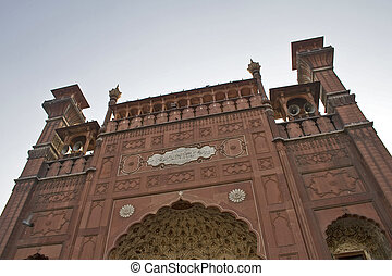 Badshahi Mosque front, beautiful architecture of islamic...