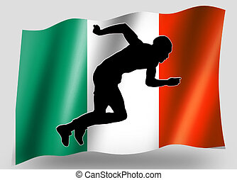 Country Flag Sport Icon Silhouette Irish Athletics