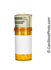 Pill bottle and cash - A pill bottle with pills and a roll...