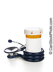 Stethoscope and pill bottle