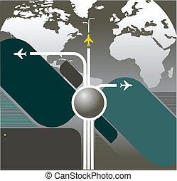 Vector Background With Aircraft in the World