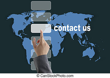 world contact us - male business hand pushing on contact us...