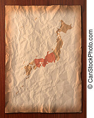 vintage Japan map paper paper - Japan Map with flag on...