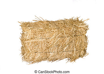 Bale of hay - A bale of hay isolated on a white background.