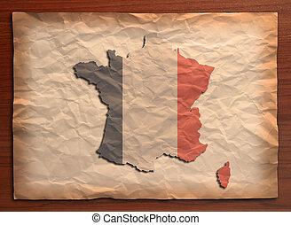 vintage paper - Wrinkled vintage paper on wooden board,...