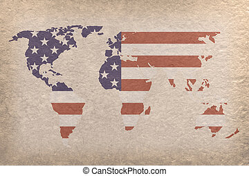 USA world map - vintage world map with USA flag on paper...